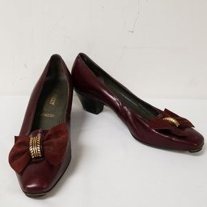 Bally Burgundy Leather Bow Slip On Pumps Heels 7.5